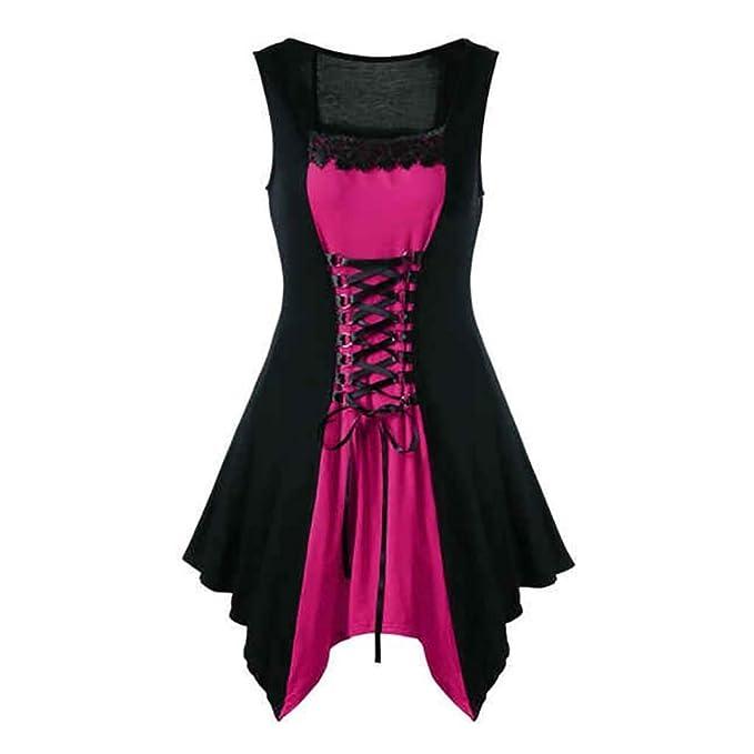 Steampunk Clothing for Women Plus Size,MILIMIEYIK Vintage Black Steampunk  Gothic Victorian Ruffled Mini Dress Sleeveless