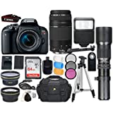 Canon EOS Rebel T7i DSLR Camera with Canon EF-S 18-55mm f/4-5.6 IS STM Lens + Canon EF 75-300mm f/4-5.6 III Lens + 500mm f/8 Preset Lens + Accessory Bundle