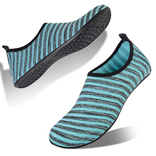 Water Shoes for Womens and Mens Summer Barefoot Shoes Quick Dry Aqua Socks for Beach Swim Yoga Exercise (Stripe-Light Blue, 42/43)