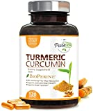 Turmeric Curcumin Max Potency 95% Curcuminoids 1950mg with Bioperine Black Pepper for Best Absorption, Anti-Inflammatory Joint Relief, Turmeric Supplement Pills by PureTea - 120 Capsules