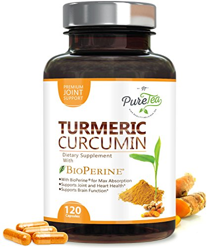 Turmeric Curcumin Max Potency 95% Curcuminoids 1950mg with Bioperine Black Pepper for Best Absorption, Anti-Inflammatory Joint Relief, Turmeric Supplement Pills by PureTea – 120 Capsules