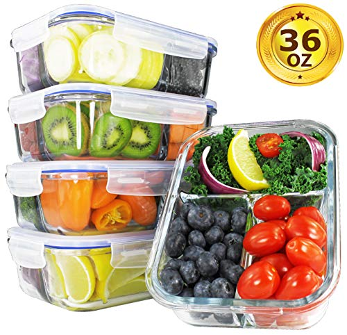 [34oz, 4-Pack Premium] Glass Meal Prep Containers 3 Compartment Set- Food Lunch Storage- Airtight Locking Lids - Portion Control -Microwave, Freezer, Oven & Dishwasher Safe (4.25 Cups)