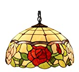 Amora Lighting Tiffany Style AM068HL16 Floral Hanging Lamp 16 Inches Wide 2 Light