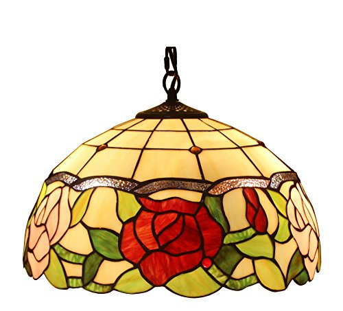 Amora Lighting Tiffany Style AM068HL16 Floral Hanging Lamp 16 Inches Wide 2 (Floral Ceiling Lamp)