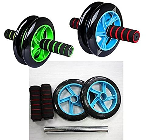 Blue color Best Pro Gym Ab Wheel Roller Brand Dual Abdominal Fitness Workout Exercise Abs Wheels (Push Up Bar Nike)