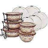 K40159 Temp-tations Old World 13-pc Round Baker Set W/ Lid-Its CRANBERRY