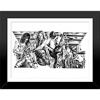 this item van halen original sketch prints framed black white features david lee roth and eddie van halen print of highly detailed