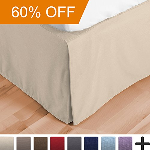 Bed Skirt Double Brushed Premium Microfiber, 15-Inch Tailored Drop Pleated Dust Ruffle, 1800 Ultra-Soft, Shrink and Fade Resistant (Queen, Sand) (Skirt Bed Beige)