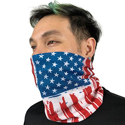 Flexible Mask Usa Paintball (American Flag Bandana - Works as Face Mask, Headband, Neck Gaiter, Balaclava - Perfects for Running, Motorcycle Riding, Fishing, Skiing, Cycling (American Ink))