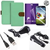 Fosmon Samsung Galaxy S4 S IV I9500 Starter Bundle- Includes: CADDY Series Leather Multipurpose Wallet Case (Sky Green / Brown) + 3-Pack Crystal Clear Screen Protector + 1000 mAh Micro USB Car Charger + Micro USB Travel Charger + Micro USB Data Cable