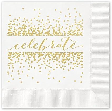 Amazon Com Celebrate With Confetti Beverage Cocktail Napkins 25 Foil Printed Paper Health Personal Care