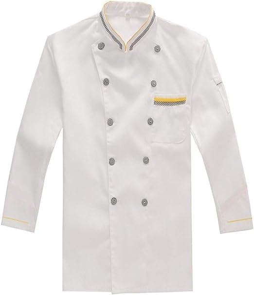 WYCDA Chaqueta de Cocinero Chef Ropa de Cocina Blanco M-3XL ...