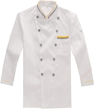 WYCDA Chaqueta de Cocinero Chef Ropa de Cocina Blanco M-3XL Algodón Camisa de Manga Larga Transpirable Protección del Medio Ambiente Sin Desvanecimiento,XXXL: Amazon.es: Hogar