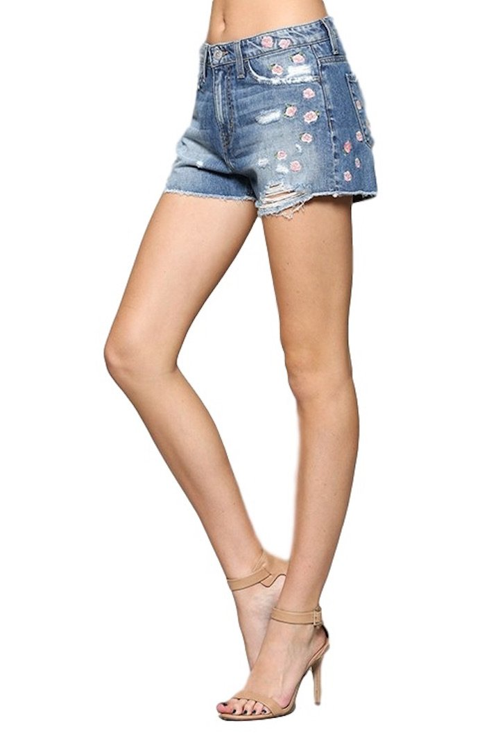 Flying Monkey Jeans Love Sick High Rise Pink Floral Embroidered Cut Off Shorts Y1295 (30) by Flying Monkey (Image #4)