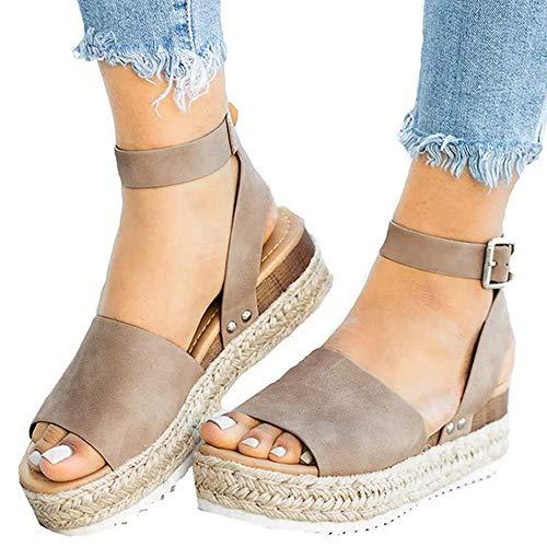 - Athlefit Women's Platform Sandals Espadrille Wedge Ankle Strap Studded Open Toe Sandals Size 8 Khaki