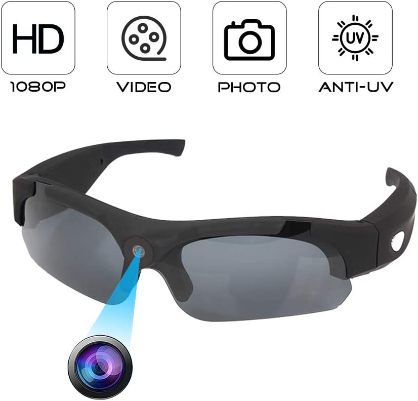 YAOAWE Sports Glasses Camera Sunglasses Hidden Mini Camera Glasses Camera Portable Video Recorder Outdoor Cycling Glasses Wearable Covert Cameras with Man//Women