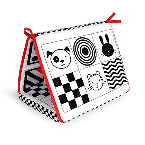 Black, White and Red 2-in-1 Smile Baby Crib and Floor Mirror by Genius Baby Toys (Image #3)