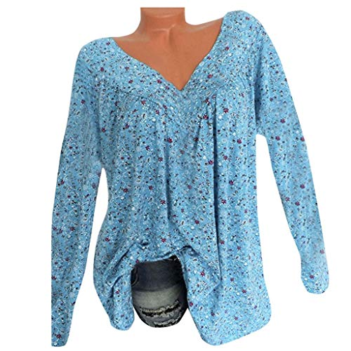 Womens V Neck Chiffon Blouses Tops Oversized Long Lantern Sleeve Pullover Shirts Blue