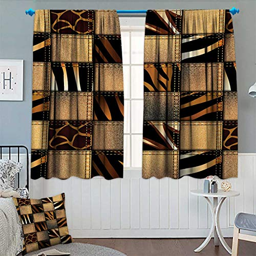 indow Curtain Drape Jeans Denim Patchwork in Safari Style Wilderness Stylized Design Art Print Decorative Curtains for Living Room 55