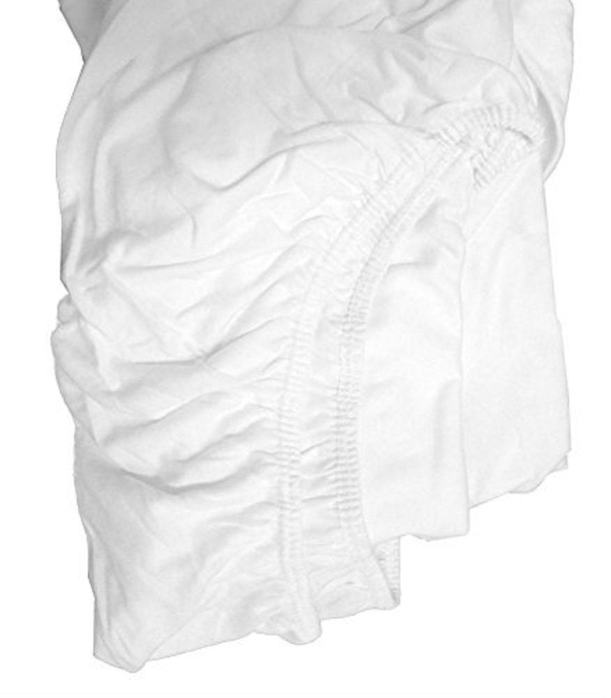 pimple free wrinkle free White Cotton Blend Fitted Sheet Easy Care /& Soft Bon Bonito knitwt