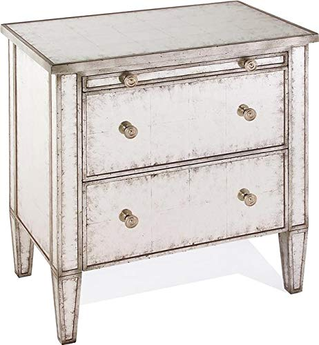 (John Richard Nightstand Eglomise Distressed Silver Gilt Antiqued New Hand)