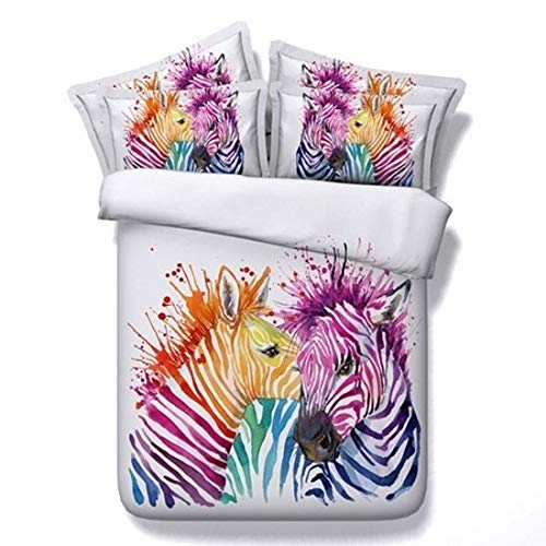 2 Piece Colorful Zebra Print Duvet Cover Twin for Kids Girls Teens 3D Beautiful Colorful Animal Theme Bedding Set Graphic Comforter Cover Graffiti Art Decorative Bedding for Adult Men Women (Zebra Bedding For Teen Girls)