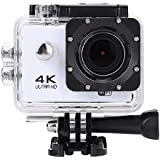 Acouto HD 4k 16P 2 Inch 170°Wide Angle Wifi Action Camera Sport Camera 30m underwater Camcorder DV Recorder with Waterproof Case Accessories Kit (Silver)