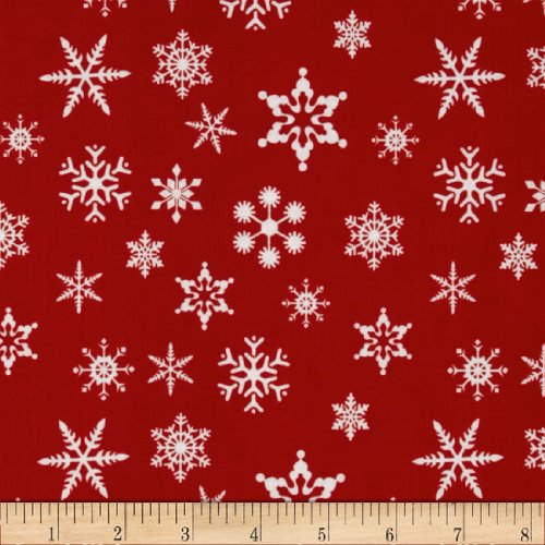Riley Blake Designs Riley Blake Holiday Snowflakes Fabric by the Yard, Red