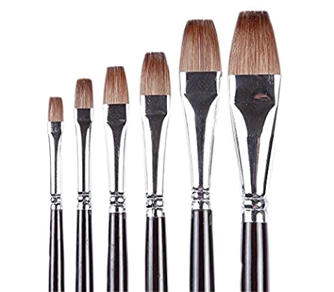 ARTIST PAINT BRUSHES - Top Quality Red Sable (Weasel Hair) Long Handle, Flat Paint Brush Set For Acrylic, Oil, Gouache and Watercolor Painting Offering Excellent Paint Holding and Easy Flow of (Flat Top Paint Brush)