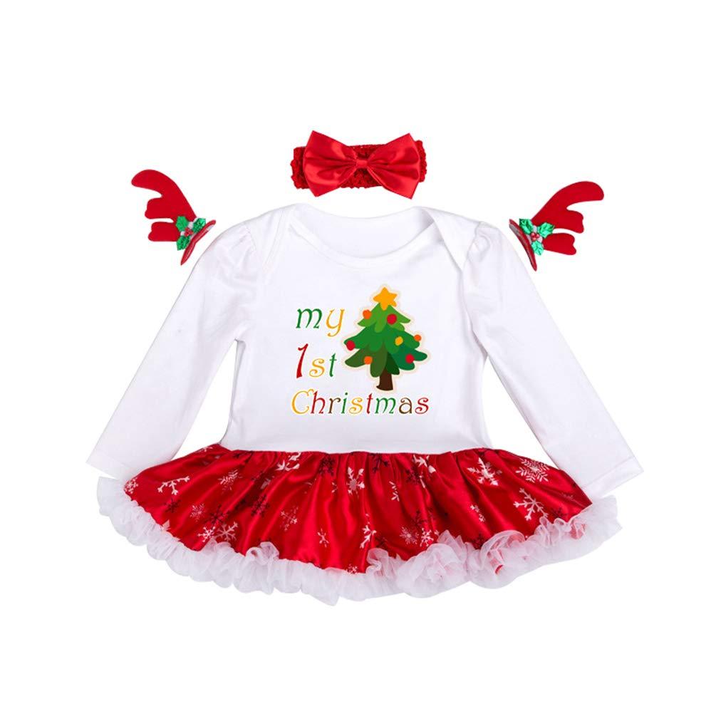 YuanDian Bebè Bambina 2pcs Natale Costume Completini Set Partito Vestiti Neonato Battesimo Babbo Natale Bimba Abbigliamento Natalizio Tutina Abiti + Fascia