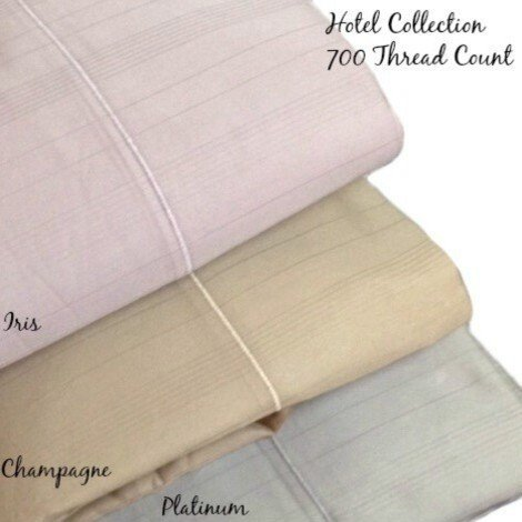Hotel Collection 700 TC Striped MicroCotton Queen Flat Sheet