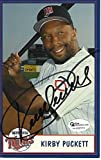 Kirby Puckett Signed - Autographed 2000 Minnesota Twins 3 1/2 x 5 1/2 inch Postcard Photo Card - Deceased 2006 - Online Authentics Authenticity