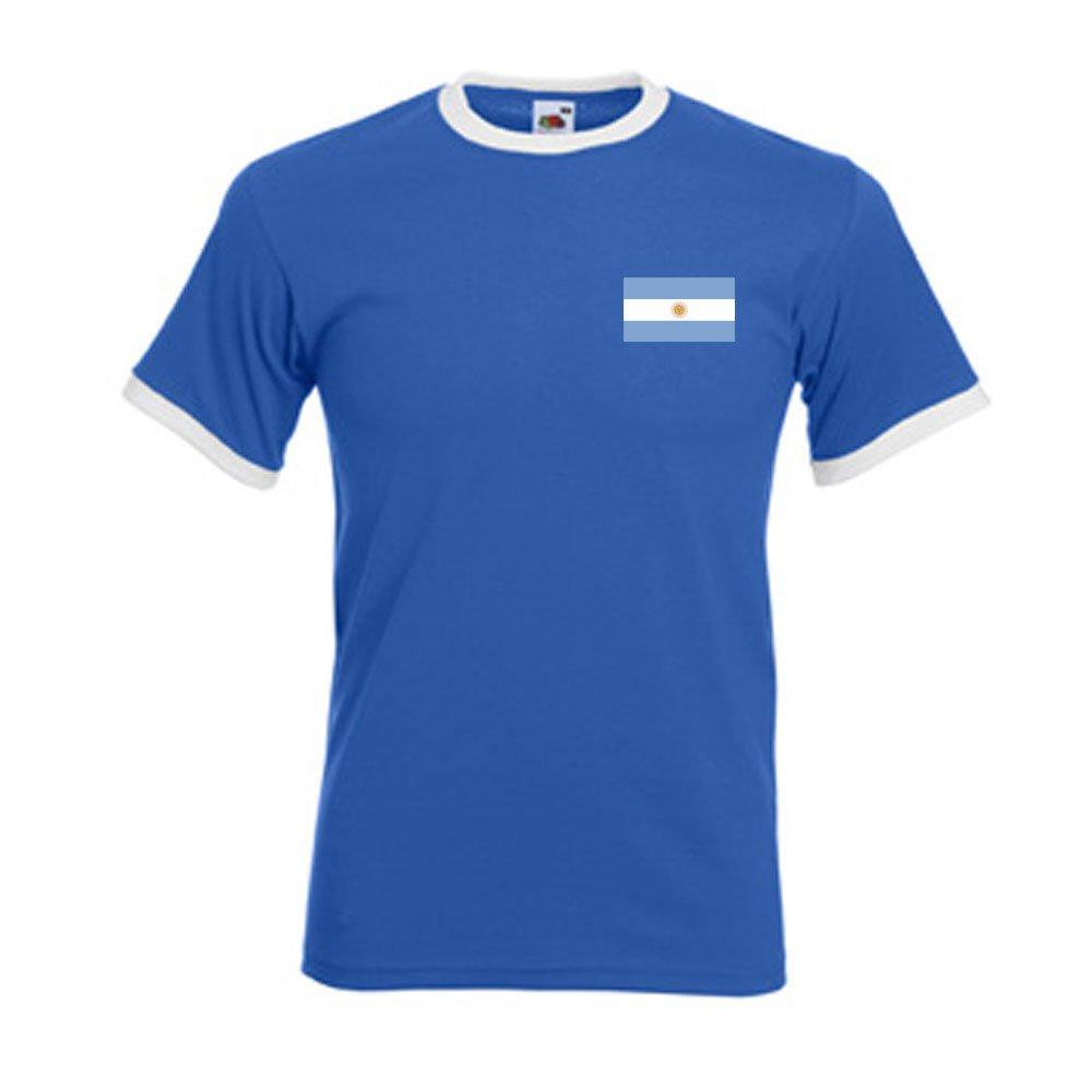 Amazon.com : Gildan Diego Maradona Argentina Ringer Tee (blue) : Sports & Outdoors