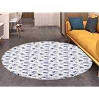 Poppy Round Area Rug Carpet Retro Flower Arrangement Ornamental Sketch of Vintage Spring Season Blooms Living Dinning Room and Bedroom Rugs Purple Grey White