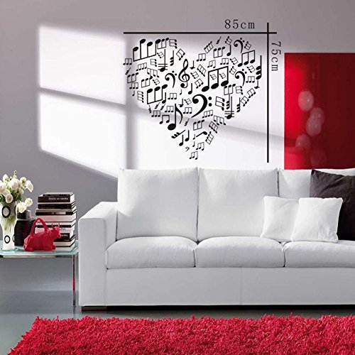 Tgsik diy love heart shape wall decals stickers music note for Home decor uae