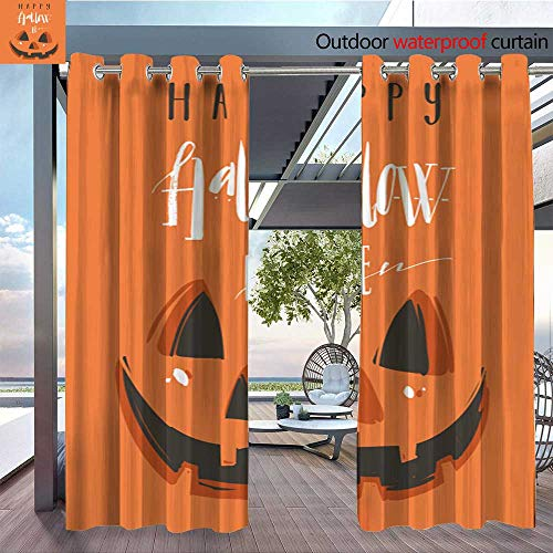 Outdoor- Free Standing Outdoor Privacy Curtain Hand Drawn Vector Abstract Cartoon Happy Halloween Illustration Poster with Pump for Front Porch Covered Patio Gazebo Dock Beach Home W84 x L96/Pair