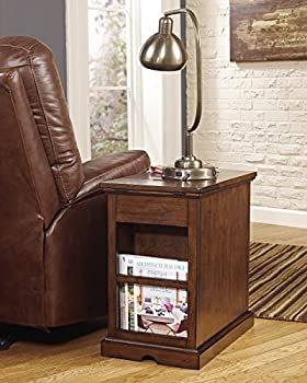 Ashley Furniture Signature Design - Laflorn Chairside End Table - Rectangular - Medium Brown 4
