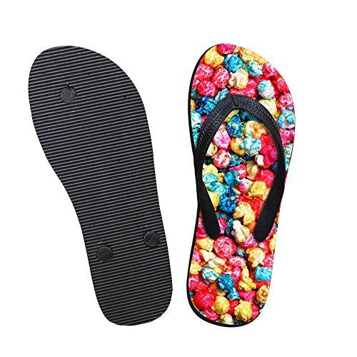 För U Designar Färg Popcorn Print Slank Kvinna Flicka Tillfälliga Hus Tofflor Flip Flop Sandal