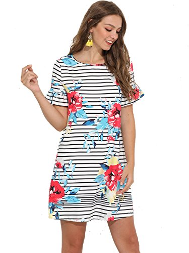 Summer Romwe Print Sleeve Beach Floral Dress Women's White Short Loose Casual Tunic wAfAqSX