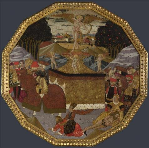 Marco Carta Costume (High Quality Polyster Canvas ,the Vivid Art Decorative Prints On Canvas Of Oil Painting 'Workshop Of Apollonio Di Giovanni And Workshop Of Marco Del Buono-Birth Tray The Triumph Of Love,probably About 1453-5', 12x12 Inch / 30x31 Cm Is Best For Bedroom Gallery Art And Home Decoration And Gifts)