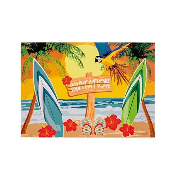 Amakando Convocazione con Busta Festa in Spiaggia | 6 Cartoline di invito Beach Party | Decorazione Festa Hawaii… 1 spesavip