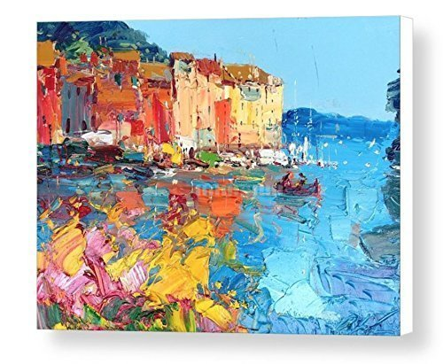 Portofino Media (Colors at Portofino Fine Art Print Italian Seascape Canvas (16x21 20x26 24x32 30x40) Wall Art Sea Home Decor Impressionist Living Room Bedroom Christmas Gifts For Her Wife Woman Agostino Veroni)