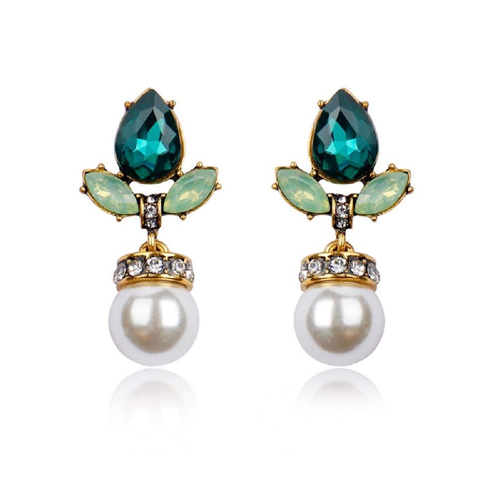 JeekouLop Ivory Pearls Stud Waterdrop Acrylic Opal Stone Earrings Gold Crystal Hypoallergenic Banquet Drop Dangle