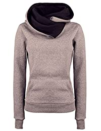 DOKER Women's Personality Lapel Hoodie Pullover Sweater Coat