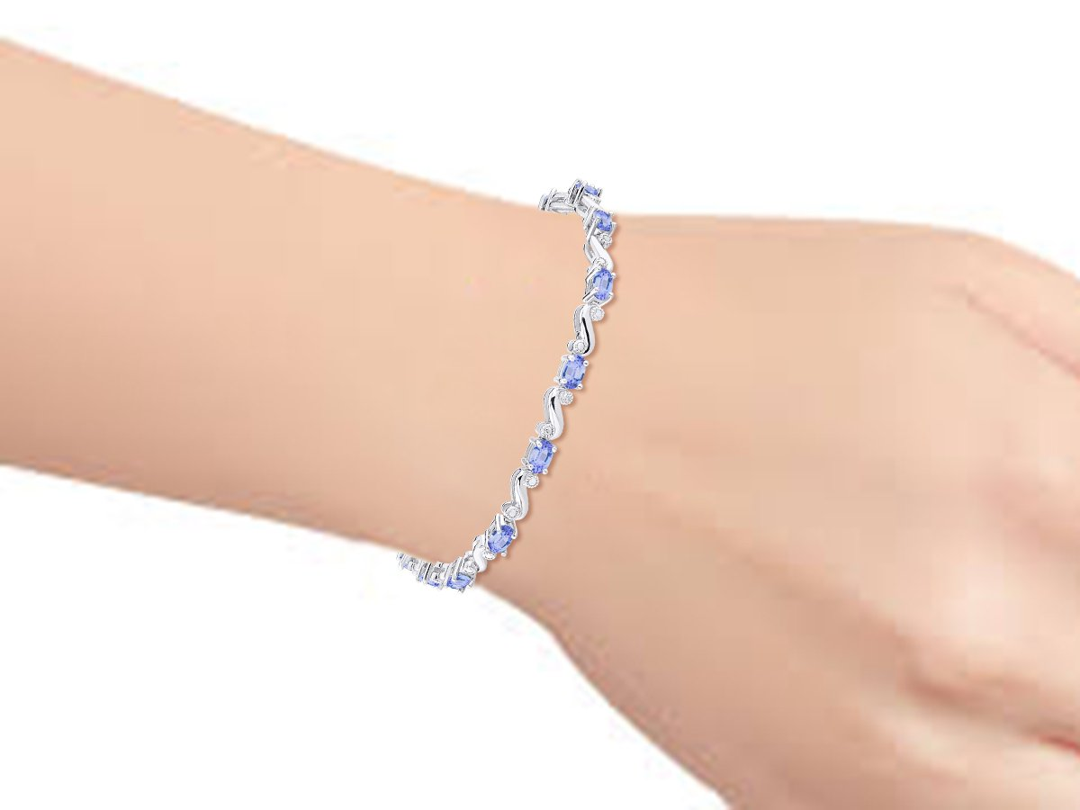 Stunning Tanzanite & Diamond S Tennis Bracelet Set in Sterling Silver - Adjustable to fit 7'' - 8'' Wrist by Rylos (Image #2)