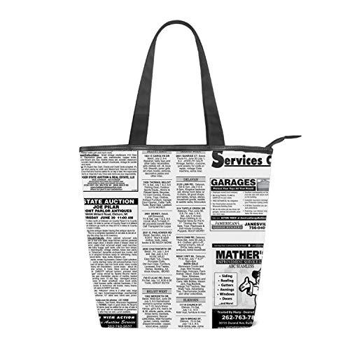 Women Canvas Shoulder Bag, White Newsprint Tote Handbag Mini Single Crossbody Messenger Bag Long Strap Shopping Bag Pouch
