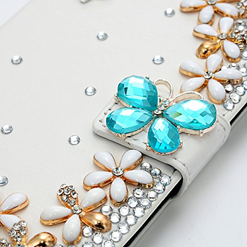 Galaxy S6 Mavis's Diary 3D Bling Crystal Golden Flowers PU Leather Butterfly Magnetic Clasp Folio Case for Galaxy S6