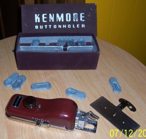Vintage Kenmore Greist Buttonholer In Box with attchmts - Sewing Buttonholer Machine Attachment