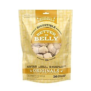 Better Belly Chicken Liver Rawhide Mini Dog Bones, 26-Count