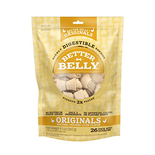 Better Belly Chicken Liver Rawhide Mini Dog Bones, 26-Count ()